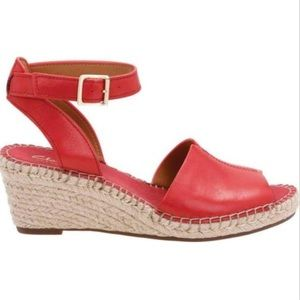 Clarks red leather wedge espadrilles